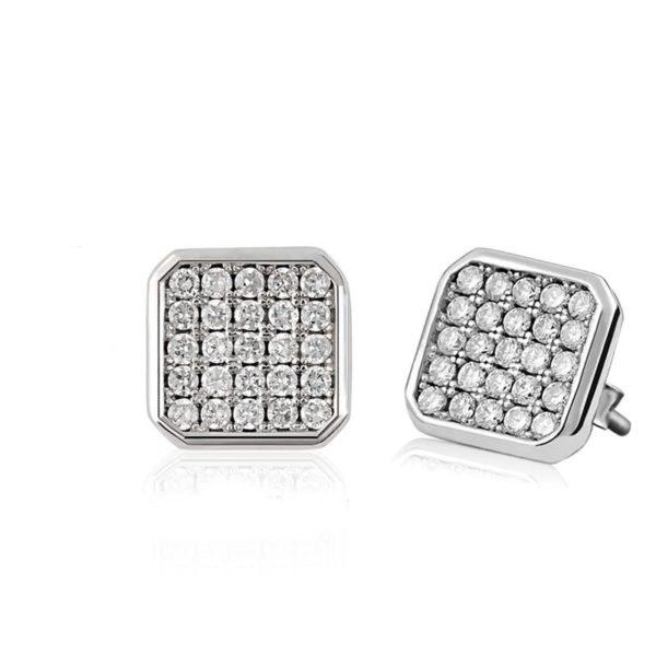 Stylish square cut silver earrings