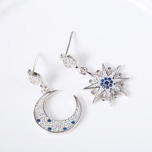 Deluxe moon & star silver earrings