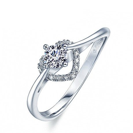 Twisted heart engagement ring
