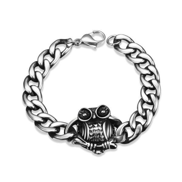 Owl stainless steel bracelet