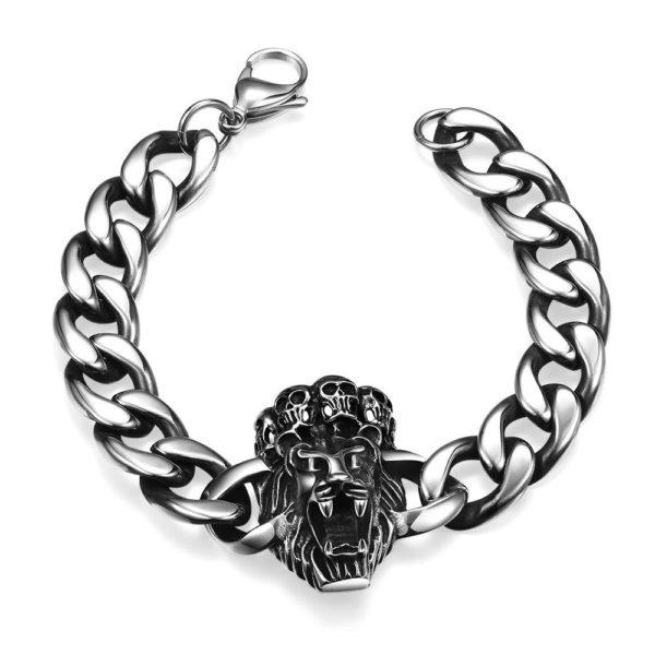 Lion & skull stainless steel bracelet