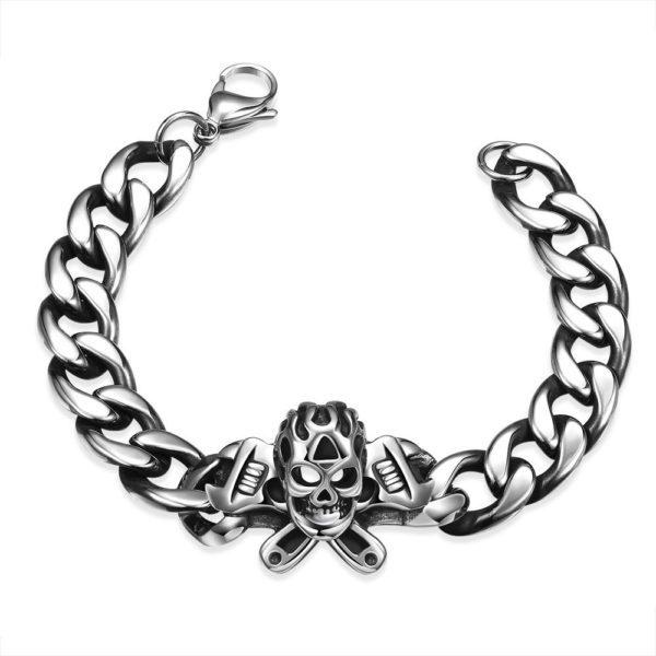 Chunky skull stainless steel bracelet