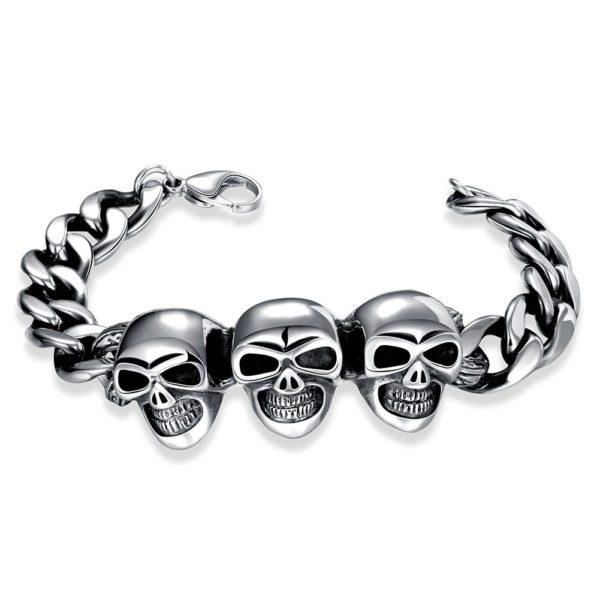Triple skull stainless steel bracelet