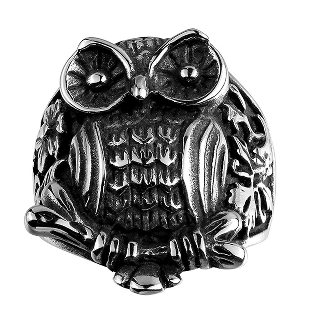 Owl stainless steel ring