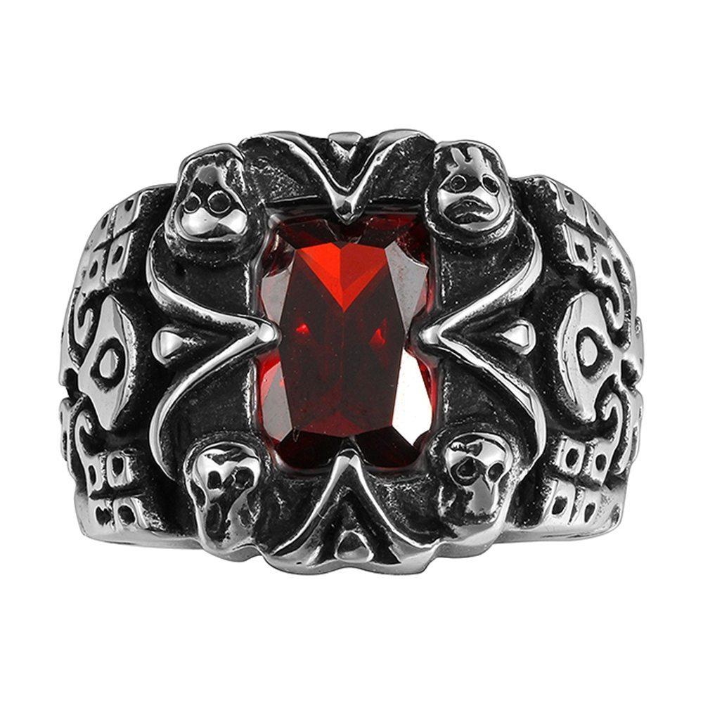 Rhodonite encrusted stainless steel ring