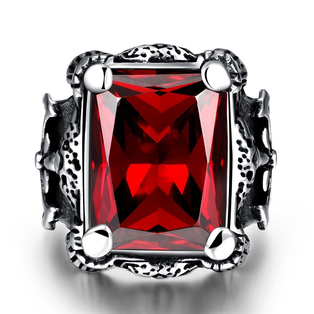 Huge red two tone encrusted cubic zirconia ring