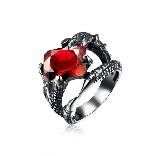 Square red cubic zirconia encrusted two tone ring