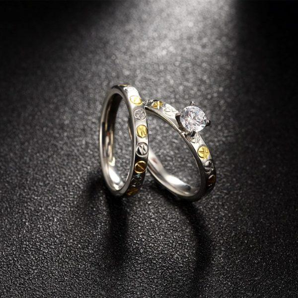 Gold & silver titanium cut engagement & wedding ring set