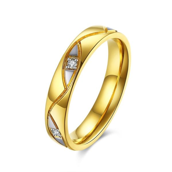 Deluxe gold & silver stoned wedding band