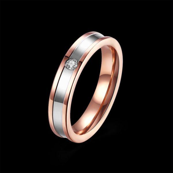 Copper & silver gem encrusted wedding band