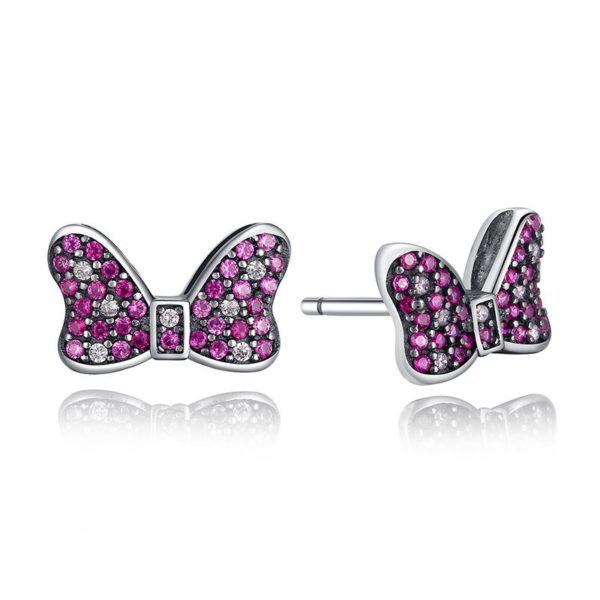 Winning pink bow earrings