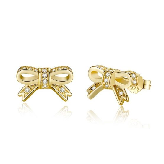 Classic sparkly gold bow earrings