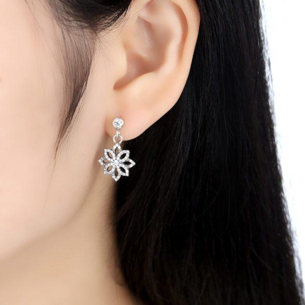 Encrusted snowflake earrings