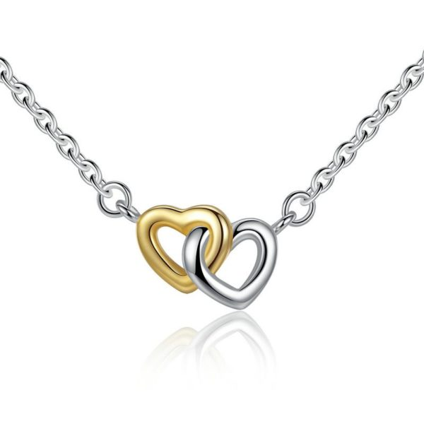 Entwined double heart necklace