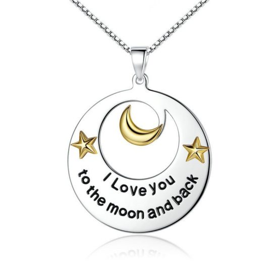 Circle 'I Love You To The Moon & Back' worded necklace