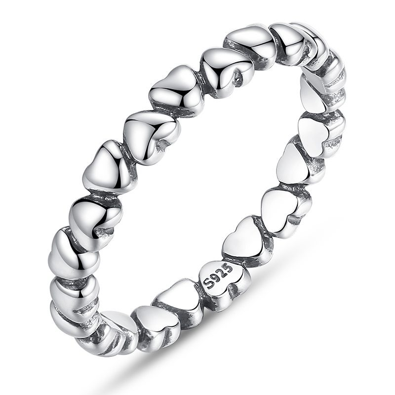 Heart entwined silver ring
