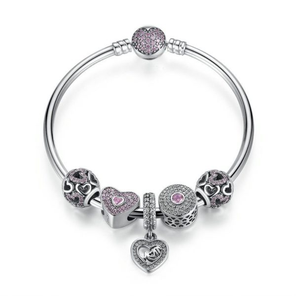 Beautiful heart charm bracelet set