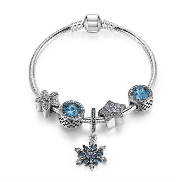 Blue & silver charm bracelet set