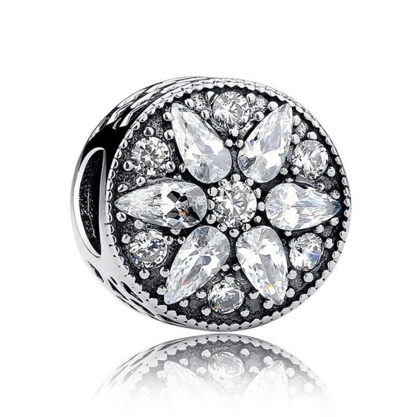 Flower gem encrusted charm