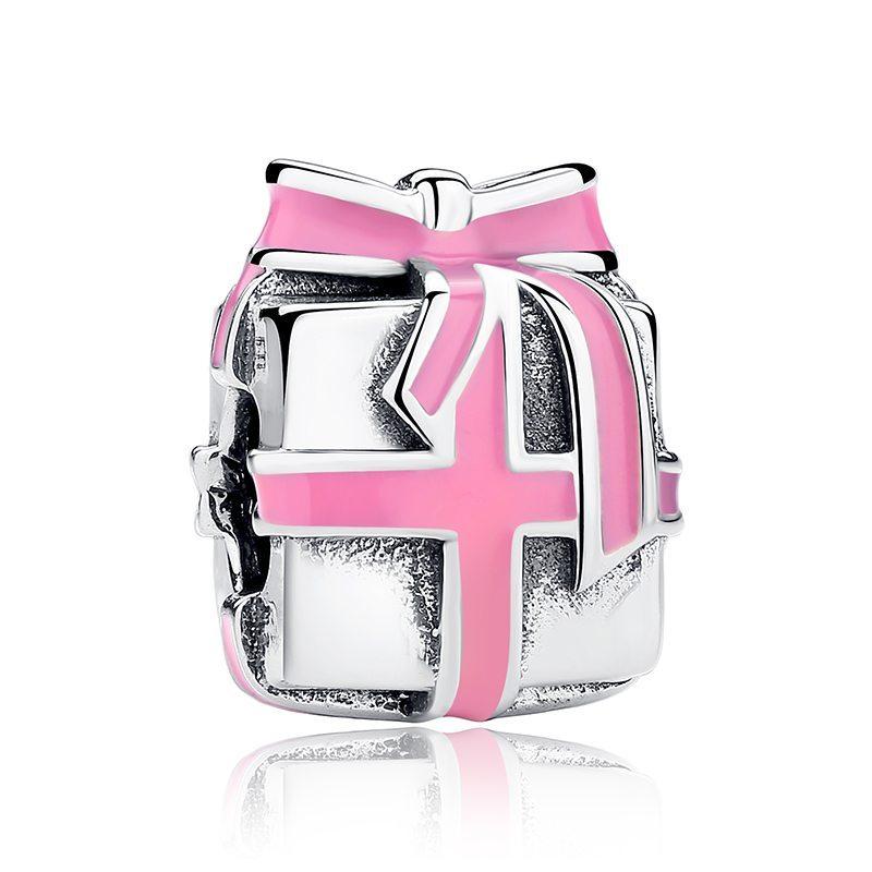 Pink bowed present charm
