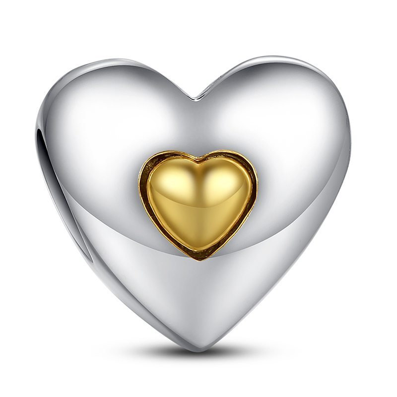 Delicate gold & silver heart charm