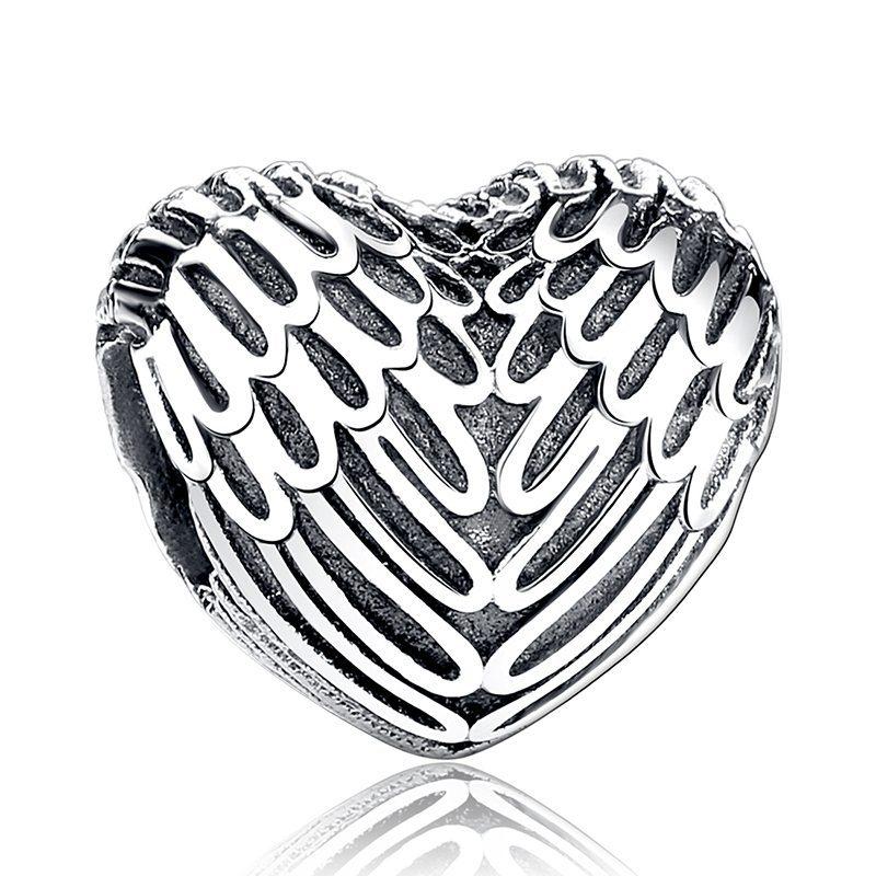 Angel winged heart charm