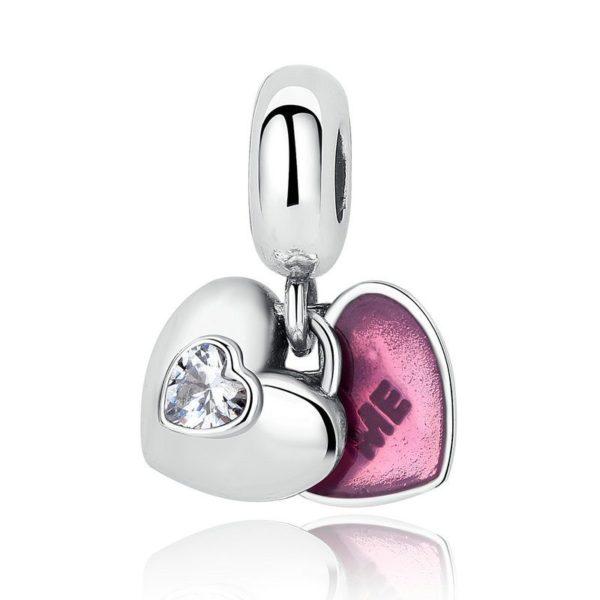 'Me' & 'You' double heart charm