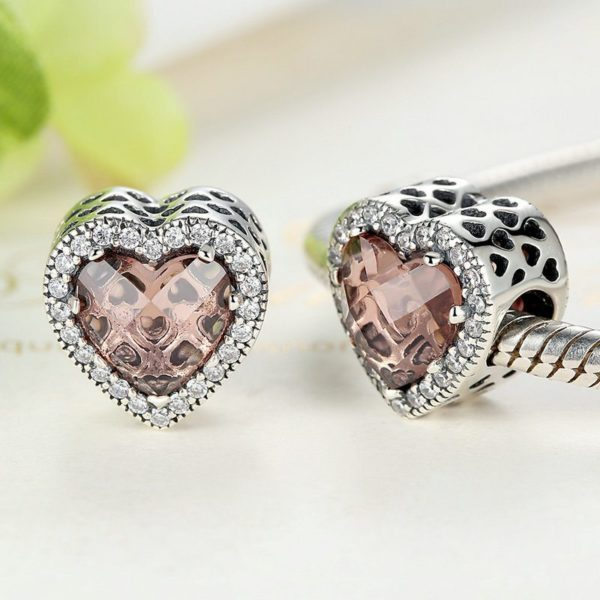 Rose pink heart charm