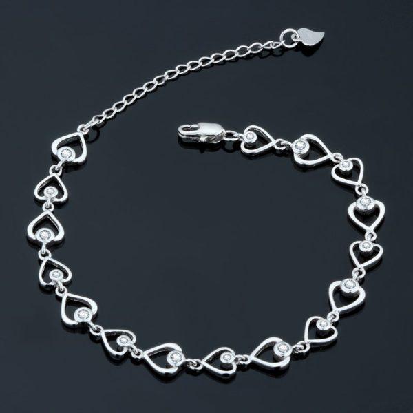 Classy heart gem encrusted bracelet