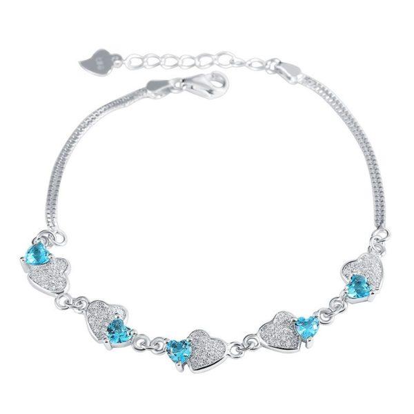 Blue heart entwined bracelet
