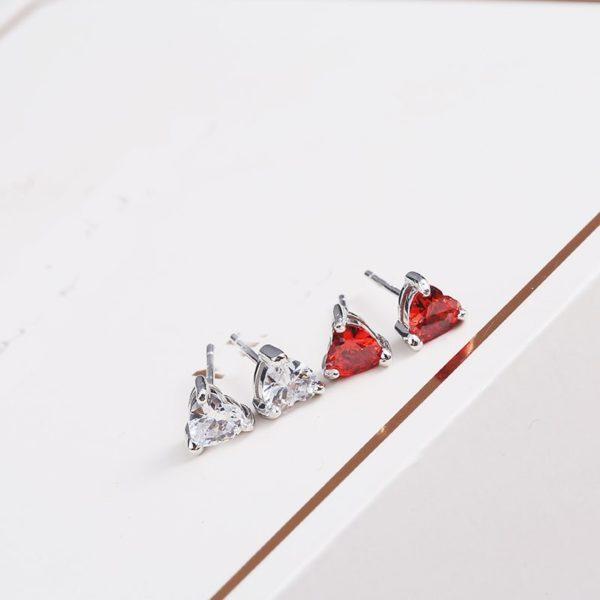 Beating heart silver earrings