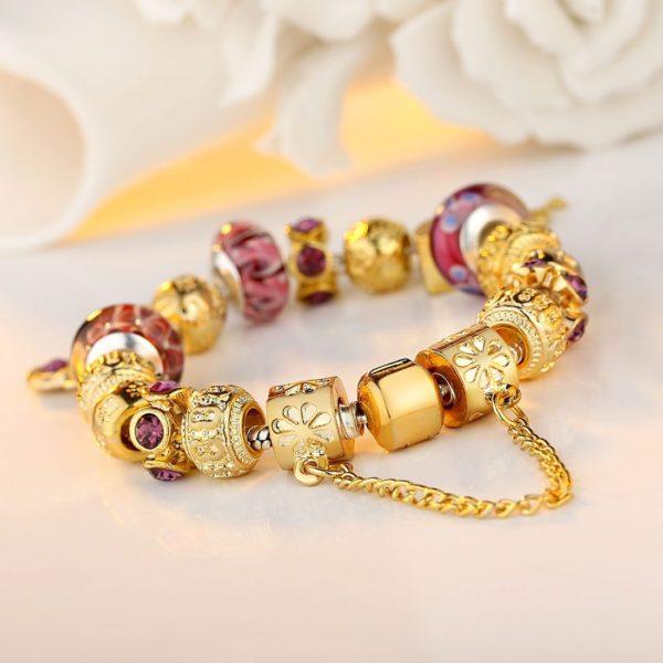 Purple floral styled charm bracelet set