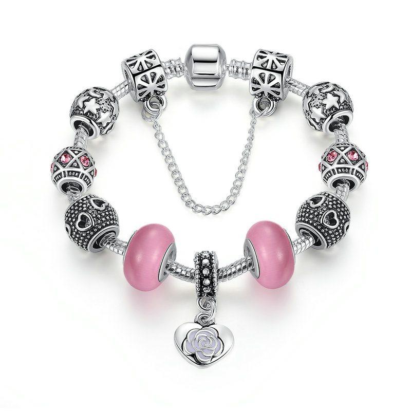 Pink florals charm bracelet set