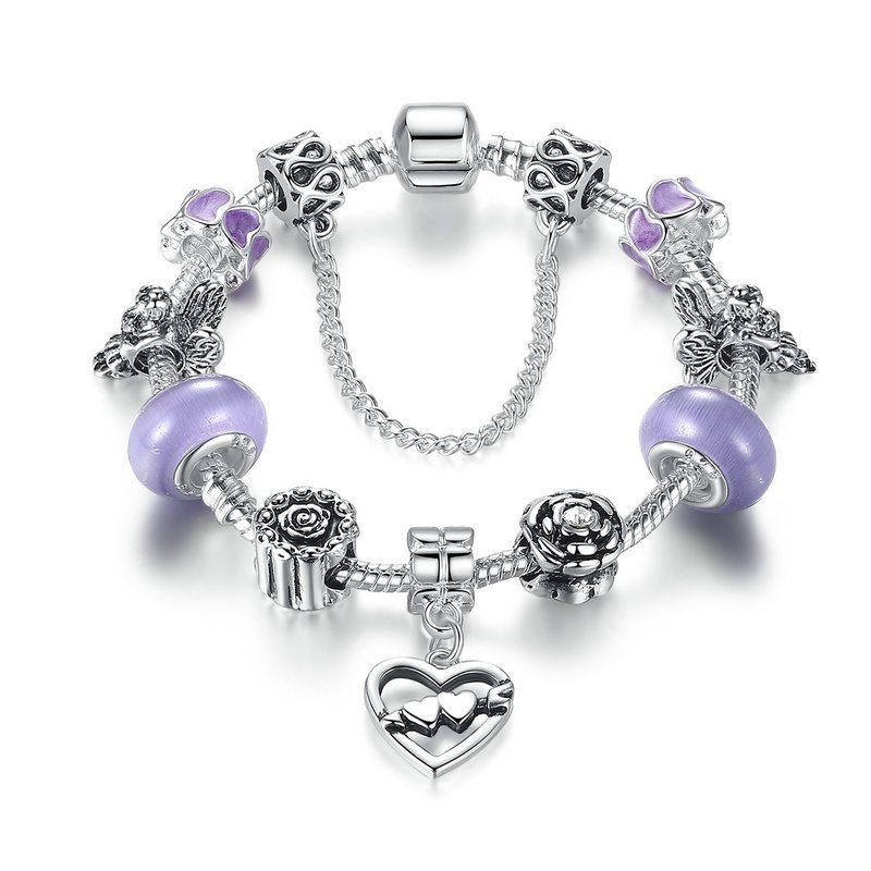 Two hearts together charm bracelet set