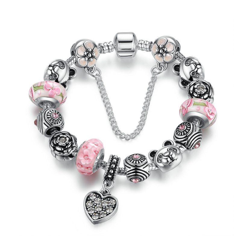 Beautiful pink heart charm bracelet set
