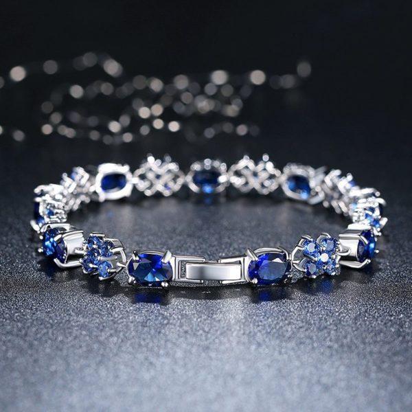 Blue gem encrusted bracelet
