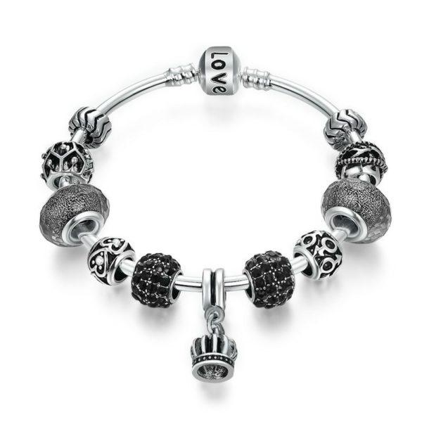 Dangling gem charm bracelet set