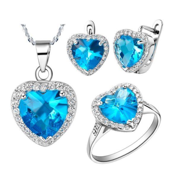 Zircon & diamond sapphire heart jewellery set