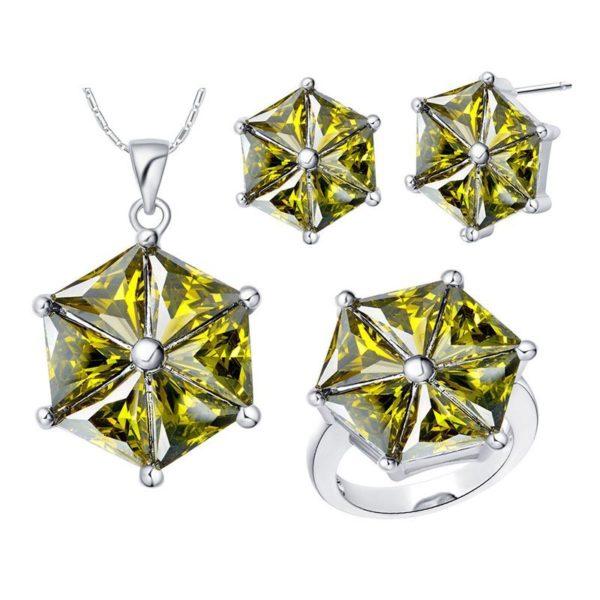 silver cubic zirconiagem stone jewellery set