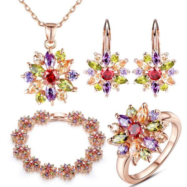 Rainbow star 14ct yellow gold jewellery set