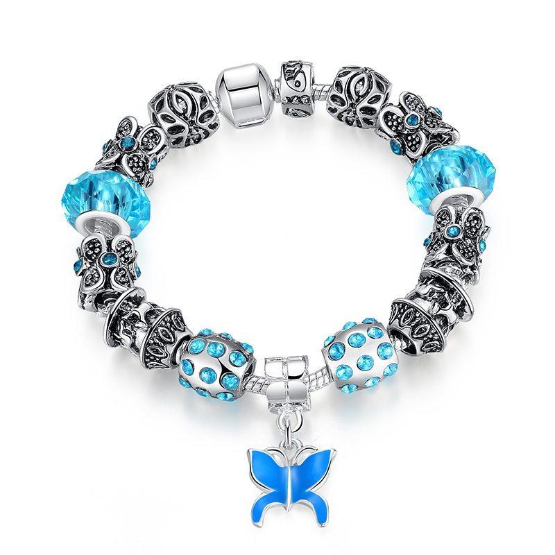 Blue butterfly charm bracelet