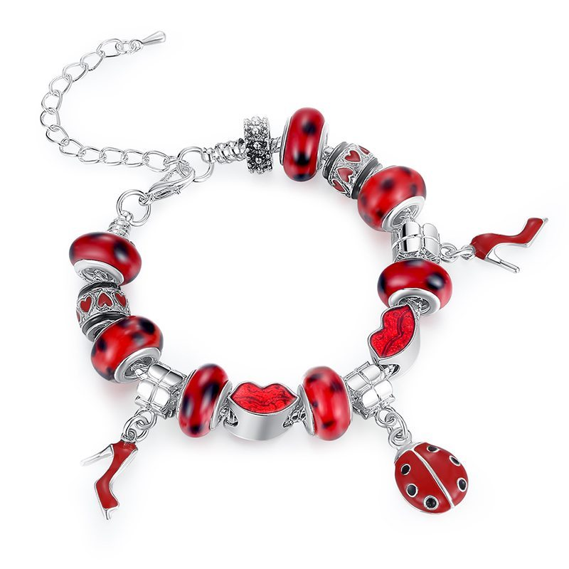 Gorgeous in red charm bracelet set