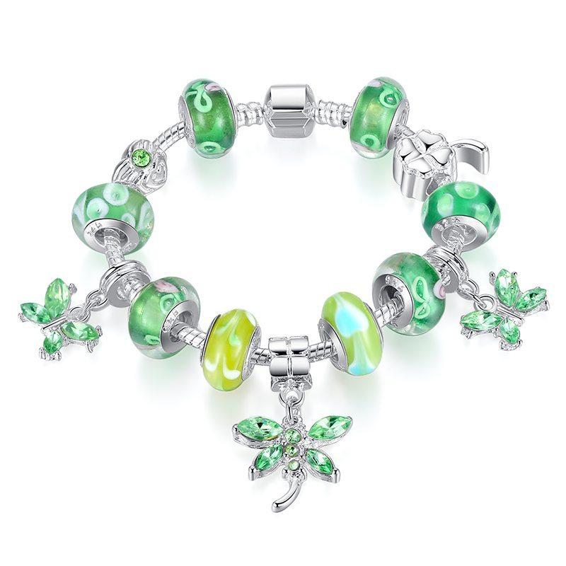Mint green charm bracelet set