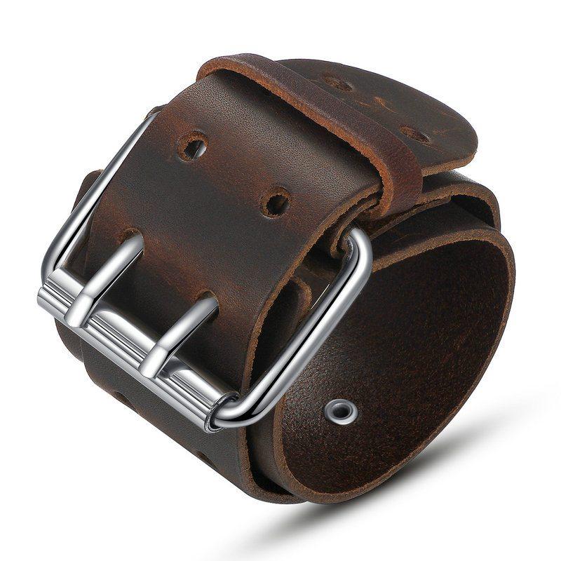 Oversized buckled leather bracelet