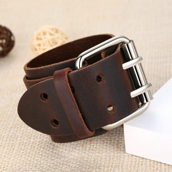 Black plaited leather bracelet