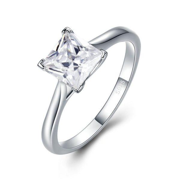Square gem white gold ring
