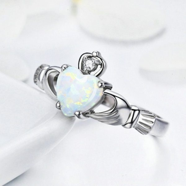 Baby blue gem stone silver ring