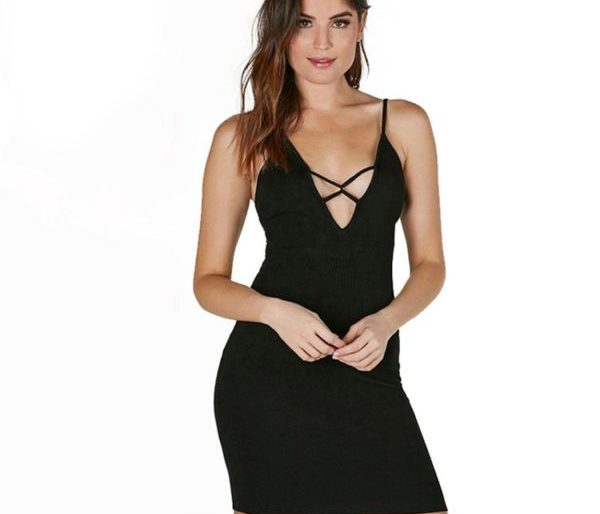 Sexy lace chest black evening dress