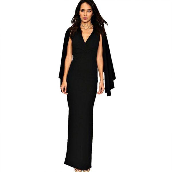 Black caped evening dress