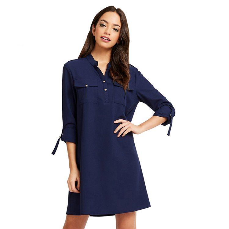 Subtle navy shirt dress